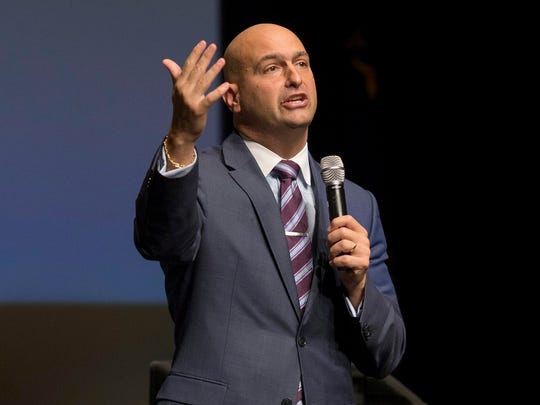 Detroit Superintendent Nikolai Vitti speaks to the crowd before the Michigan Supreme Court hears oral arguments for the People v Elisah Kyle Thomas on Wed., Oct. 25, 2017 at Cass Tech High School in Detroit.