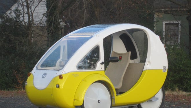 The ELF is a sun-powered, electric trike produced by Organic Transit in Durham, N.C.