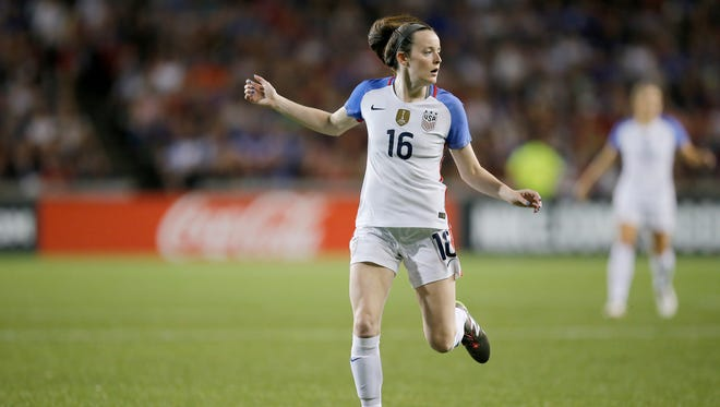 United States defender Rose Lavelle (16) runs into position in the first half of the international friendly match between the United States and New Zealand National Teams at Nippert Stadium in Cincinnati, on Tuesday, Sept. 19, 2017.