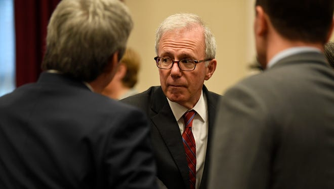 Former Mayor Bill Purcell arrives for the swearing-in of David Briley as Nashville mayor Tuesday, March 6, 2018  p.m. in the David Scobey Council Chamber at the Metropolitan Courthouse after the resignation of Megan Barry earlier in the day.