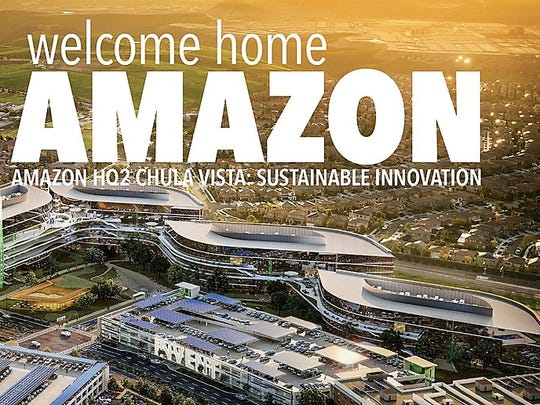 The cover of Chula Vista, Calif.'s 48-page Amazon HQ2 proposal features a rendering of a proposed office complex to be developed for the Seattle company.