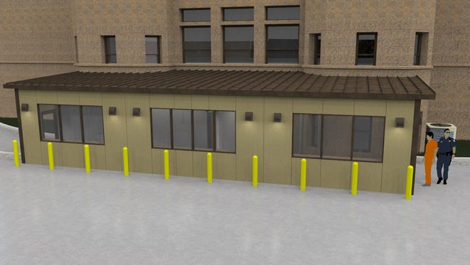 A rendering of the proposed secured entrance at the rear of the Johnson County Courthouse, designed by HBK Engineering.