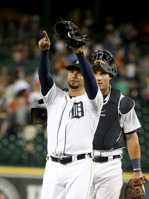 Tigers pitcher Anibal Sanchez celebrates after his two-game shutout in the Tigers' 6-0 win Monday at Comerica Park.
