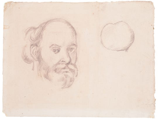 """Self Portrait and Apple"" (pencil on paper) by Paul"