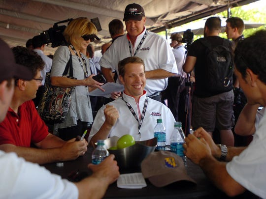 Brad Keselowski during interview with reporter.