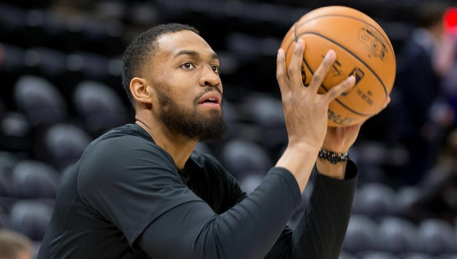 Forward Jabari Parker warms up recently prior to a Bucks-Jazz game in Salt Lake City.