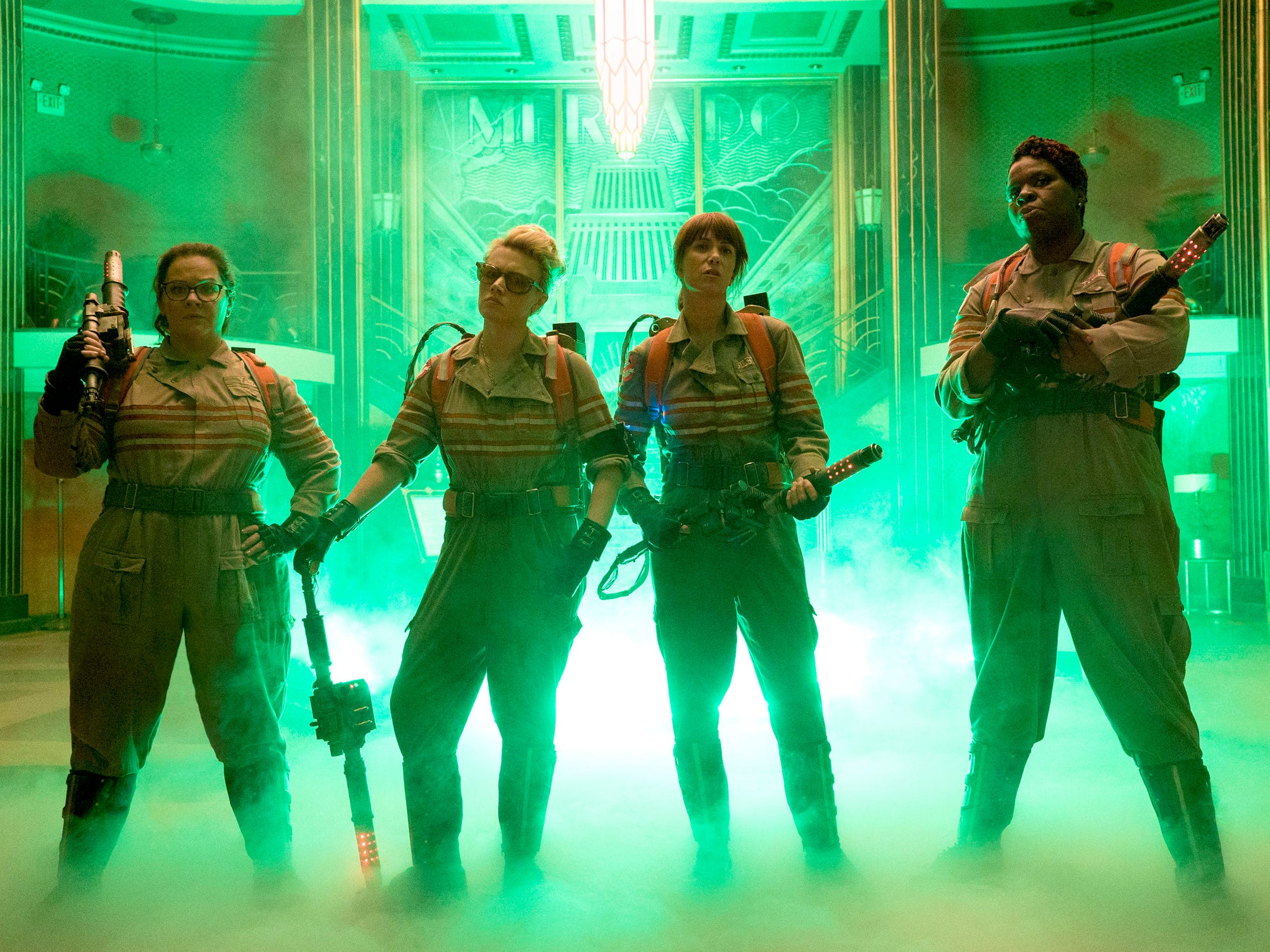 Abby (Melissa McCarthy, from left), Holtzmann (Kate McKinnon), Erin (Kristen Wiig) and Patty (Leslie Jones) are ready to believe in Paul Feig's 'Ghostbusters.'