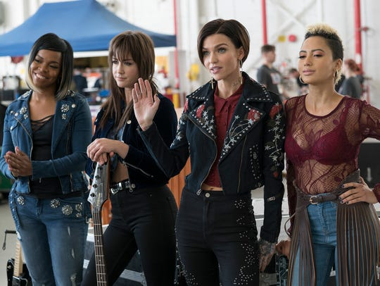 Calamity (Ruby Rose, second from right) leads the all-female