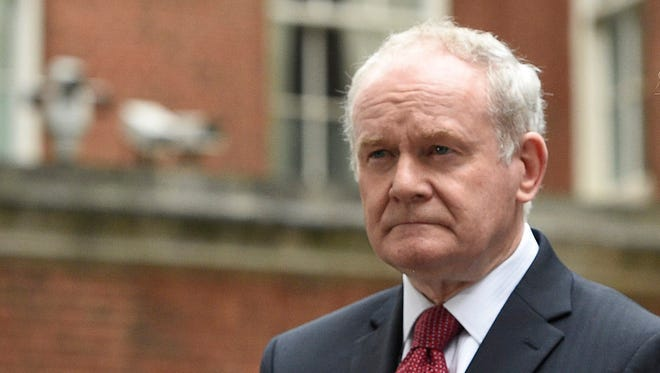 A file photograph showing Northern Ireland Deputy First Minister, Martin McGuinness speaking to journalists after attending a meeting of the Joint Ministerial Committee in 10 Downing street in London, Britain, Oct. 24, 2016.