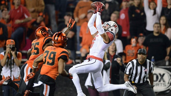 Utah wide receiver Dres Anderson catches a touchdown pass against Oregon State on Oct. 16 in Corvallis, Ore.