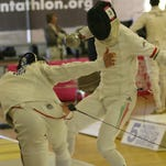 Fencers compete in the 2013 Modern Pentathlon World Cup Series in Palm Springs on Friday, February 22nd, 2013.
