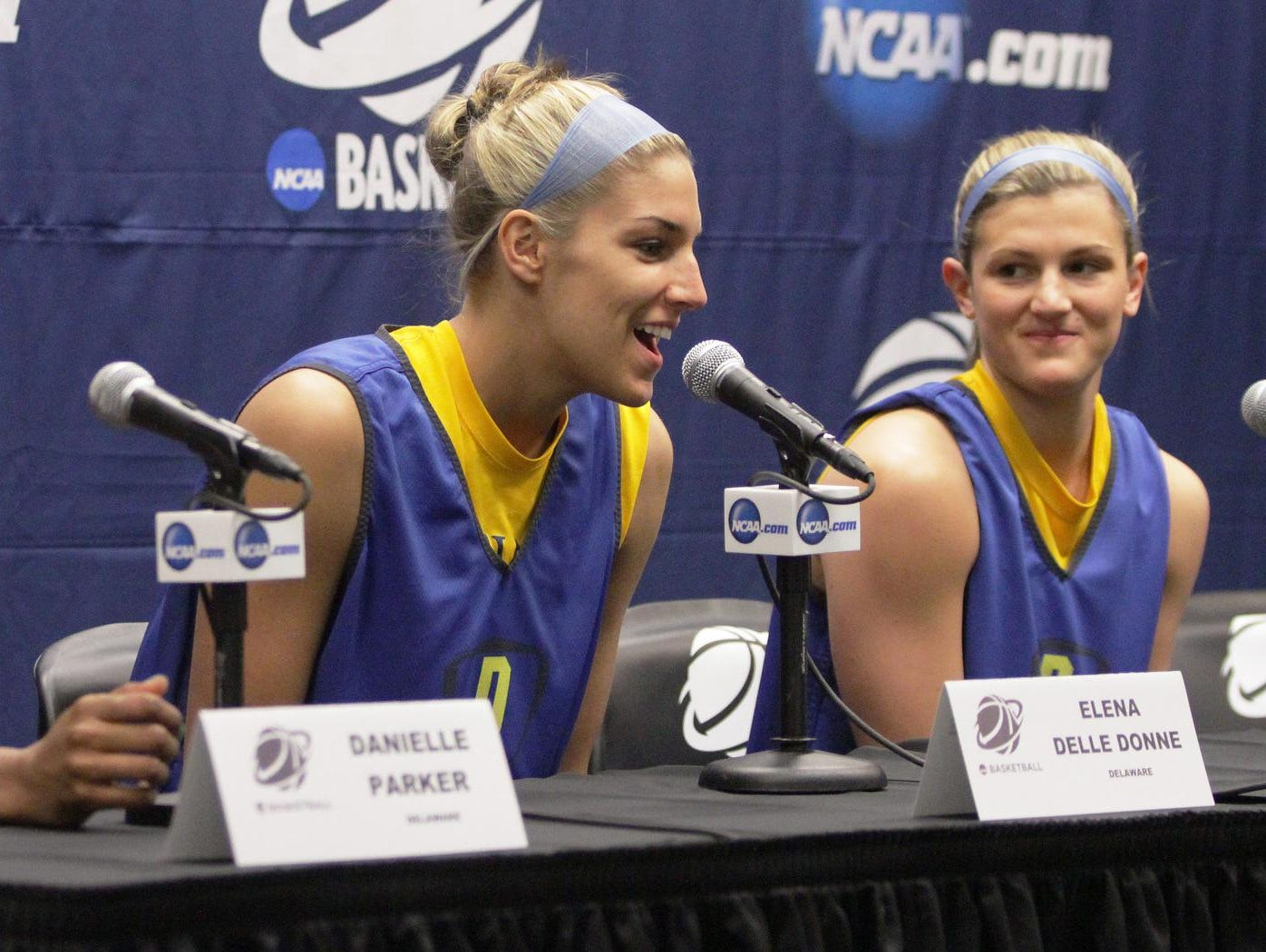 Delaware's (from left) Danielle Parker, Elena Delle Donne and Lauren Carra participate in a press conference on the eve of the Blue Hens' opening round NCAA tournament game against West Virginia on March 23, 2013, at the Bob Carpenter Center.