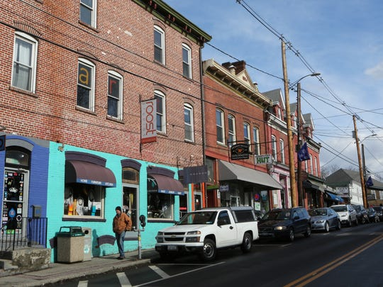 The vintage buildings along Main Street in downtown