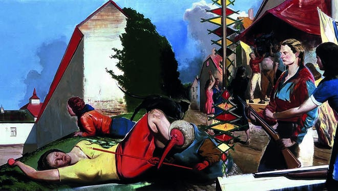 Neo Rauch (b. 1960, Leipzig, Germany; based in Leipzig). Warten auf die Barbaren [Waiting for the Barbarians], 2007. Oil on canvas, 59 x 157 1/2 in. Collection of The Broad Art Foundation.