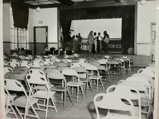 An original photo of the Robert Russa Moton High School auditorium used by the defense in the Brown v. Board of Education on display at the National Archives Wednesday, April 14, 2004, in Washington. In marking the 50th anniversary of Brown v. Board of Education the National Archives is displaying documents used in this landmark case.