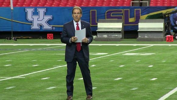 Alabama coach Nick Saban looks to win a third straight