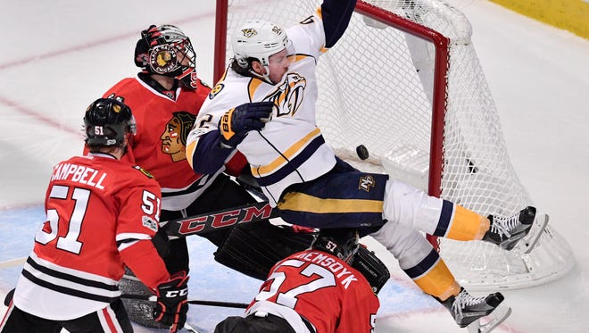 Nashville Predators center Ryan Johansen (92) scores in the third period of game two in the first-round NHL playoff series at the United Center, Saturday, April 15, 2017, in Chicago, Ill.