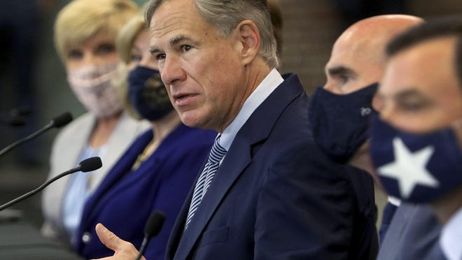 Gov. Greg Abbott announces a proposal Tuesday in Fort Worth that would discourage cities from cutting spending on police departments. Abbott, Lt. Gov. Dan Patrick and House Speaker Dennis Bonnen, R-Lake Jackson, proposed legislation that would freeze a city's property tax revenue if that city cut police funding.