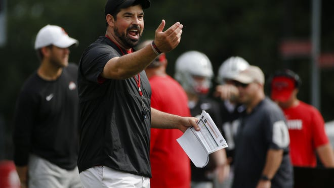 Ohio State football coach Ryan Day yells instructions during a practice in August 2019.
