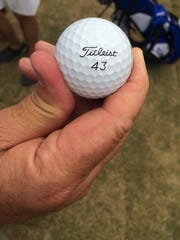 Amateur golfer Jay Pumphrey got a hole in one, using this unique Titleist 43 ball.