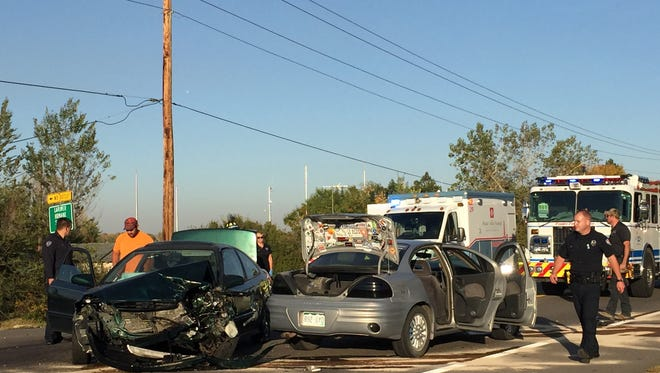 Two people were hospitalized and a driver was cited for careless driving after a crash Friday afternoon in south Fort Collins.