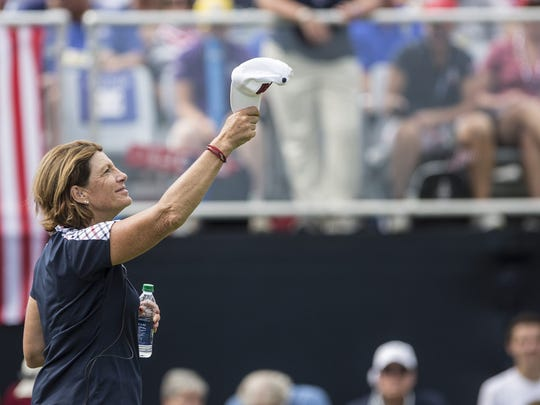 Aug 20, 2017; West Des Moines, IA, USA; Juli Inkster, captain of Team USA watches as players tee off on the first hole for the final round of the Solheim Cup at the Des Moines Golf and Country Club. Mandatory Credit: Kelsey Kremer/The Des Moines Register via USA TODAY NETWORK