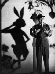 "James Stewart befriends a bunny in ""Harvey."""