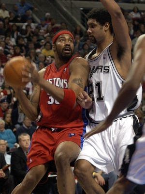 Pistons forward Rasheed Wallace scored 14 points and had six rebounds against the Spurs on Christmas Day 2005.