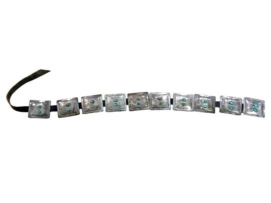 This Old Pawn silver rectangular Concho belt recently sold at auction for $650.