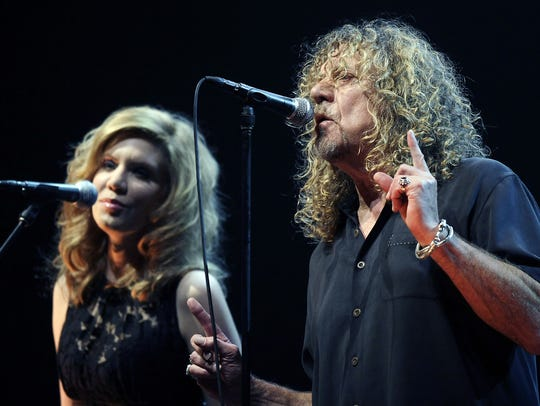 Robert Plant, right, and Alison Krauss perform together
