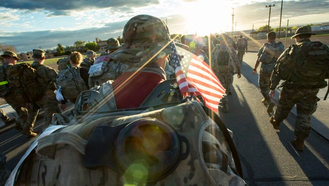 The sun rises on the nearly 8,500 participants who marched Sunday March 25, 2018, in the 29th Bataan Memorial Death March at White Sands Missile Range.