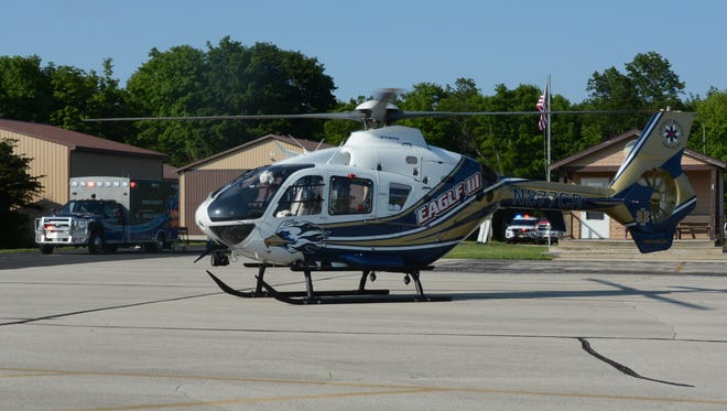 The Sister Bay ambulance transported a victim to the Ephraim-Gibraltar Airport for transportation to a hospital by medical helicopter.