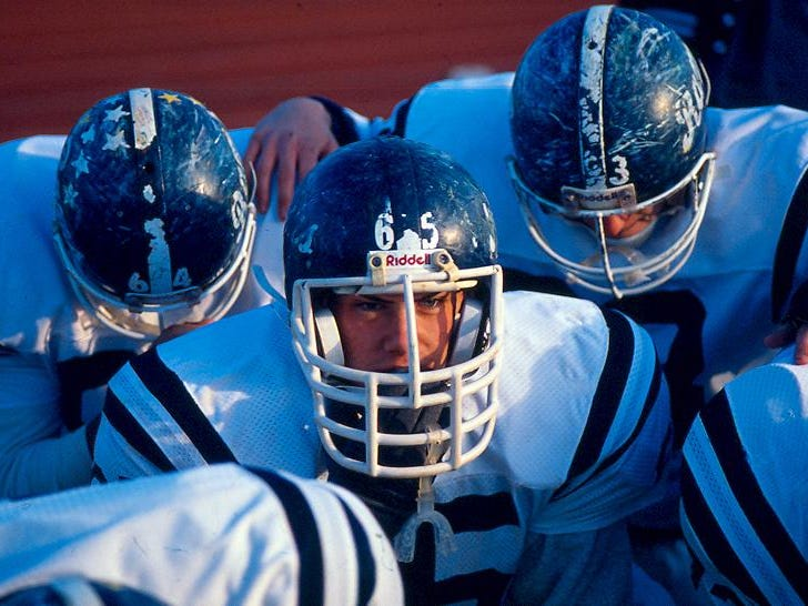 What been known as 'The greatest high school game ever played' Randolph players scuffed helmets tell the story of their emotional season holding onto a state record win streak and losing their legendary head coach, beating a heavily favored Montclair 22-21 to capture the 1990 Group 4 Section 2 State Championship at Woodman Field in Montclair on Dec, 1, 1990.