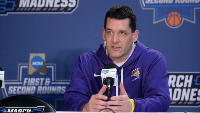 Northern Iowa head coach Ben Jacobson speaks to the media during a practice day before the first round of the NCAA Tournament at Chesapeake Energy Arena on Thursday, March 17, 2016.