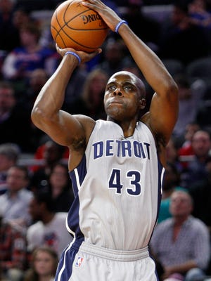 Pistons forward Anthony Tolliver (43) takes a shot during the fourth quarter of the Pistons' 115-90 win over the Timberwolves Thursday at the Palace.