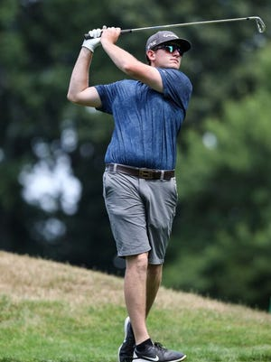 Ryan Fillebrown watches his shot during play at the recent Worcester County Amateur at Wachusett Country Club.