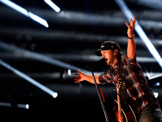 Luke Bryan performs at Nissan Stadium on the first