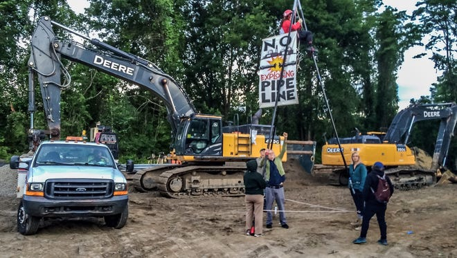 Peekskill police said they arrested six protesters at a construction site for the Algonquin pipeline on Albany Post Road on Monday.