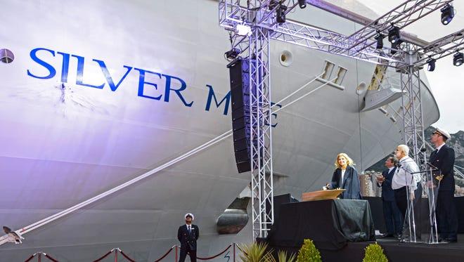 Costanza Lefebvre, the daughter of Silversea Cruises chairman Manfredi Lefebvre d'Ovidio, christens Silversea's new Silver Muse on April 19, 2017.