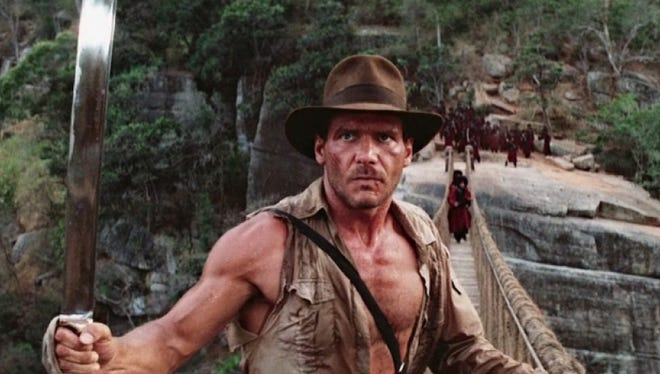 Harrison Ford during a scene from Indiana Jones and the Temple of Doom.