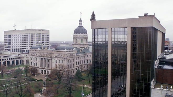 The Indiana state capitol building