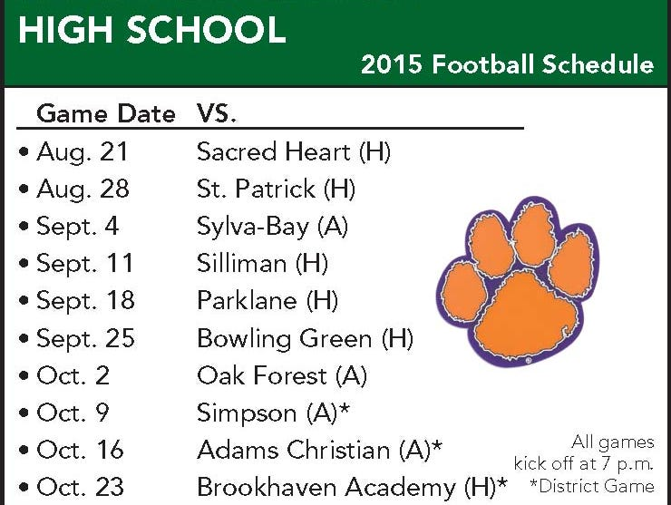 Columbia Academy football schedule
