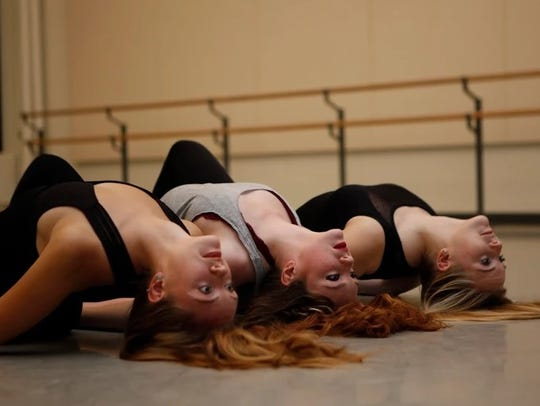 Dance students Sydney Enzler, Constance Williams and