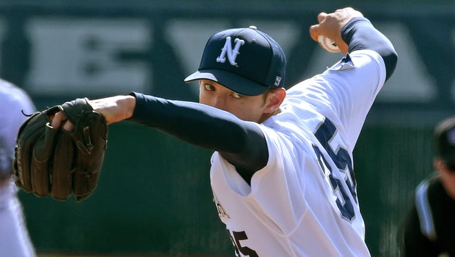 Nevada's Trevor Charpie pitches the first game of a doubleheader against Virginia Tech at Peccole Park on Friday.