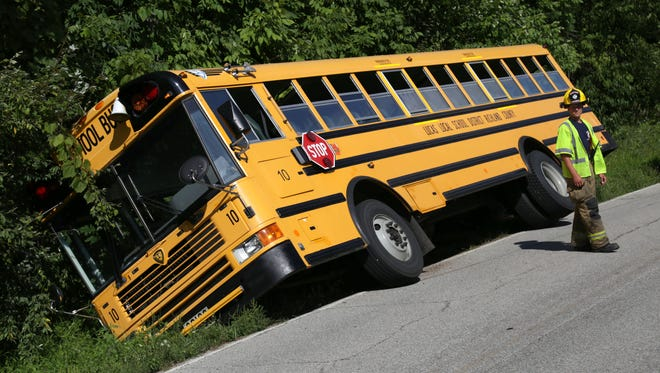 Ohio State Highway patrol officers along with the Monroe Township/Lucas Fire department were called to a Lucas Schools bus that was in a ditch on Hanley Road.