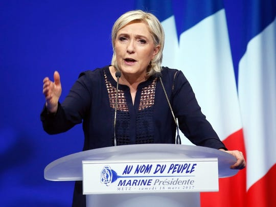 Marine Le Pen delivers a speech during a campaign rally
