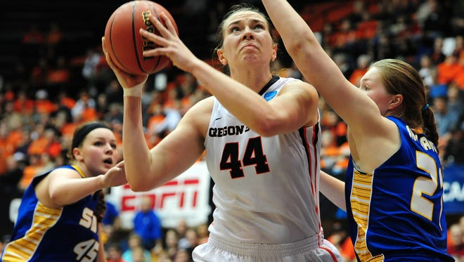 Oregon State center Ruth Hamblin puts up a shot against South Dakota State during the first round of  the NCAA Women's Basketball tournament first round at Gill Coliseum, on Friday, March 20, 2015, in Corvallis. OSU won the game 74-62.