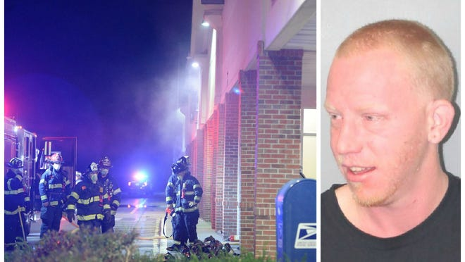Andrew Goucher, 30, of West Bridgewater, was arrested in Brockton and charged with burning a building, burning building contents, breaking and entering into a building during the night with intent to commit a felony, assault and battery on a police officer, resisting arrest, disorderly conduct and destruction of property, Tuesday, Nov. 3, 2020.