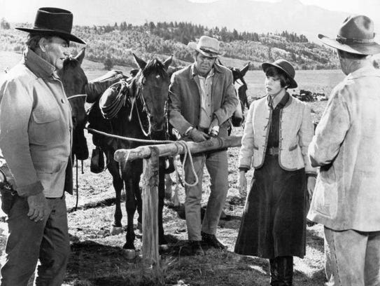 John Wayne, Kim Darby and Glen Campbell in True Grit