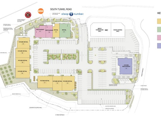 A site plan for The Peaks, a future retail and restaurant center in Asheville, located across from the Asheville Mall.